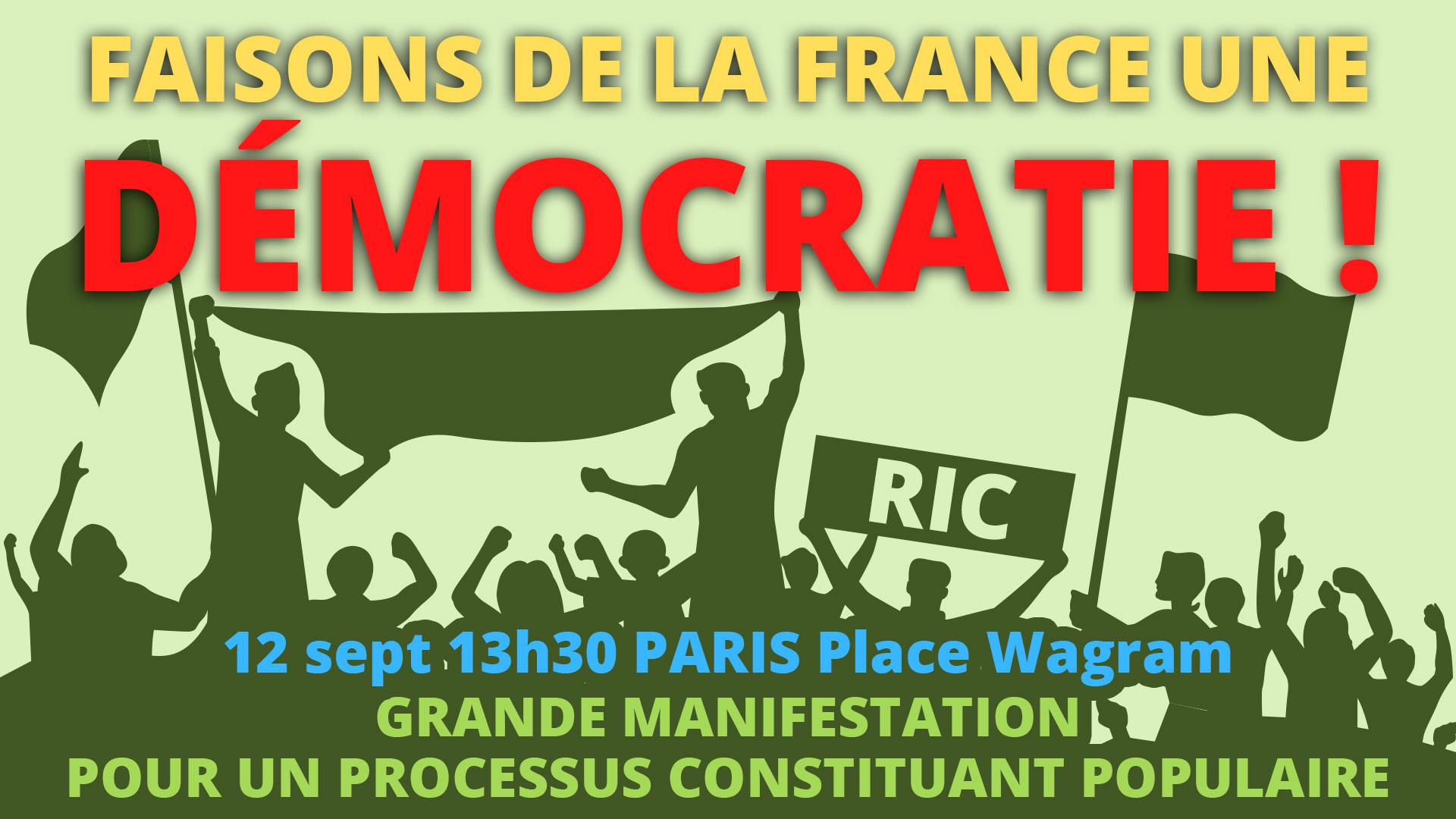 manifestation pour le RIC la démocratie et un processus constituant populaire